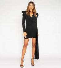 Black Distinctive Frill Mini Long Sleeve V Neck Bodycon Dress HB6806-Black