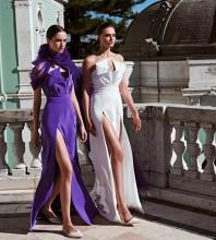 Purple Tie Slit Maxi Sleeveless Strapless Bodycon Dress HB6814-Purple