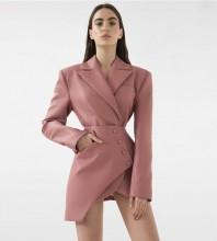 Pink Distinctive Asymmetrical Mini Long Sleeve V Neck Bodycon Dress HB6823-Pink