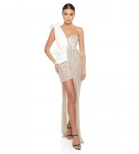White Silver Frill Sequined Mini Sleeveless One Shoulder Bodycon Dress HB6828-White-Silver