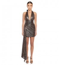 Black Backless Frill Mini Sleeveless Halter Bodycon Dress HB6829-Black
