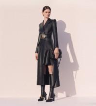Black Girdle Asymmetrical Over Knee Long Sleeve V Neck Bodycon Dress HB6831-Black