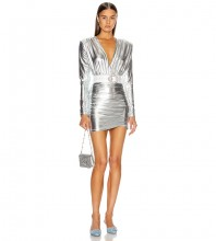 Silver Distinctive Ruched Mini Long Sleeve V Neck Bodycon Dress HB6839-Silver
