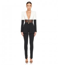 Black V Neck Long Sleeve Mesh Striped Bodycon Suit HB6852-Black