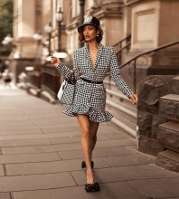 Black White Plaid Frill Mini Long Sleeve V Neck Bodycon Dress HB6861-Black-White