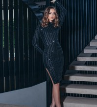 Black Slit Sequined Midi Long Sleeve High Neck Bodycon Dress HB6865-Black