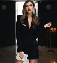 Black Buckle Cut Out Mini Long Sleeve V Neck Bodycon Dress HB6892-Black