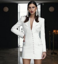 White Buckle Cut Out Mini Long Sleeve V Neck Bodycon Dress HB6892-White