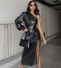 Dark Gray Frill Asymmetrical Over Knee Long Sleeve One Shoulder Bodycon Dress HB6893-Dark-Gray