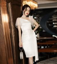 White Frill Mesh Midi Short Sleeve V Neck Bodycon Dress HB6906-White