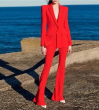 Red V Neck Long Sleeve  Button Plain Bodycon Suit HB6909-Red