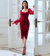 Red Wrinkled Mesh Over Knee Long Sleeve Square Collar Bodycon Dress HB6919-Red