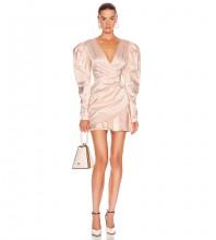 Pink Distinctive Frill Mini Long Sleeve V Neck Bodycon Dress HB6931-Pink
