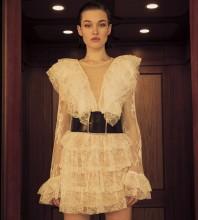 White Lace Mesh Mini Long Sleeve Round Neck Bodycon Dress HB6933-White