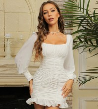White Frill Wrinkled Mini Long Sleeve Square Collar Bodycon Dress HB6964-White