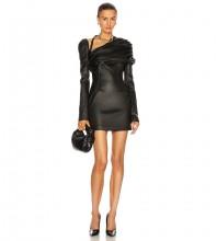 Black Distinctive Halter Mini Long Sleeve V Neck Bodycon Dress HB6981-Black