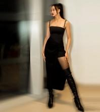Black Backless Slit Midi Sleeveless Strappy Bodycon Dress HB6987-Black