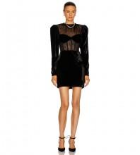 Black Striped Mesh Mini Long Sleeve Round Neck Bodycon Dress HB6992-Black