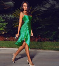 Green Backless Wrinkled Midi Sleeveless Strappy Bodycon Dress HB7007-Green