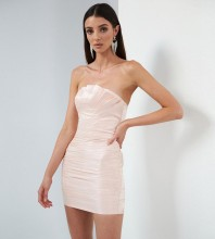 Pink Wrinkled Frill Mini Sleeveless Strapless Bodycon Dress HB7046-Pink