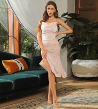 Apricot Slit Wrinkled Midi Sleeveless Strappy Bodycon Dress HB7047-Apricot