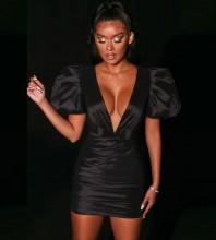 Black Distinctive Wrinkled Mini Short Sleeve V Neck Bodycon Dress HB7056-Black