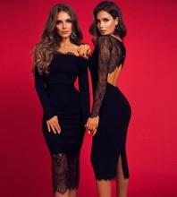 Black Side Mesh Over Knee Long Sleeve Round Neck Bandage Dress HB7078-Black