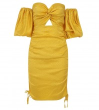 Yellow Wrinkled Cut Out Mini Mid Sleeve Off Shoulder Bodycon Dress HB7087-Yellow