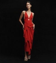 Red Backless Frill Maxi Sleeveless Strappy Bodycon Dress HB7088-Red