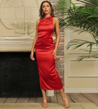 Red Backless Wrinkled Midi Sleeveless Strappy Bodycon Dress HB7092-Red