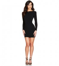 Black Backless Mini Long Sleeve Round Neck Bandage Dress HB7119-Black