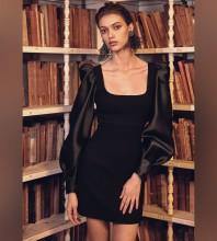 Black Puff Sleeve Mini Long Sleeve Square Collar Bandage Dress HB7128-Black