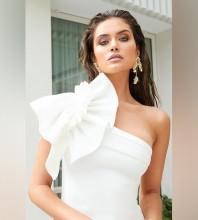 White Frill Asymmetrical Mini Sleeveless One Shoulder Bandage Dress HB7157-White