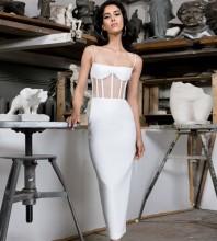White Strappy Sleeveless Over Knee Mesh Striped Bandage Dress HB7179-White
