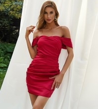 Red Backless Wrinkled Mini Short Sleeve Off Shoulder Bodycon Dress HB7199-Red