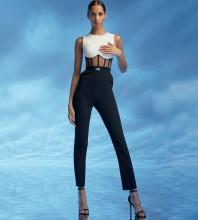 Black Mesh Striped Maxi Sleeveless Round Neck Bandage Jumpsuits HB7203-Black