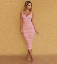 Pink Backless Wrinkled Over Knee Sleeveless Strappy Bandage Dress HB7210-Pink