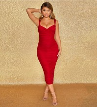 Red Backless Wrinkled Over Knee Sleeveless Strappy Bandage Dress HB7210-Red