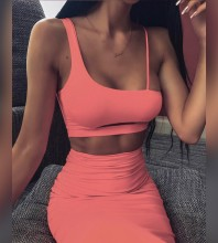Pink Slit Cut Out Over Knee Sleeveless Strappy Bandage Set HB7217-Pink