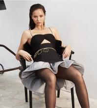 Black Strappy Sleeveless Mini Frill Cut Out Bandage Dress HB7227-Black