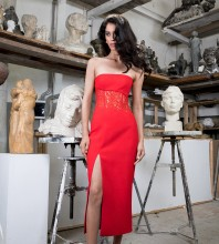 Strapless Red Sleeveless Over Knee Lace Slit Bandage Dress HB7237-Red