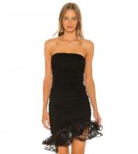 Strapless Black Sleeveless Mini Frill Wrinkled Bandage Dress HB7238-Black