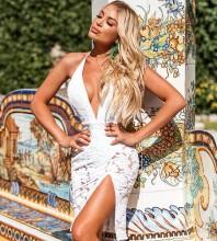 Halter White Sleeveless Mini Lace Backless Bandage Dress HB7239-White