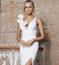 V Neck White Sleeveless Knee length Frill Slit Bandage Dress HB7249-White