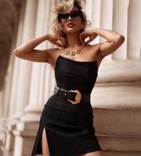 Strapless Black Sleeveless Mini Slit Striped Bandage Dress HB7250-Black