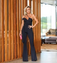 Black Tie Asymmetrical Maxi Sleeveless Strappy Bandage Jumpsuits HB7252-Black