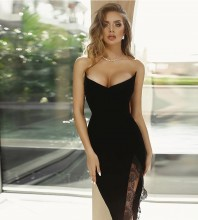Strapless Black Sleeveless Maxi Frill Slit Bandage Dress HB7256-Black