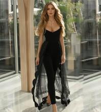 Strapless Black Sleeveless Maxi Frill Mesh Bandage Dress HB7257-Black
