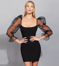 Black Plain Mesh Mini Long Sleeve Square Collar Bandage Dress HB7260-Black