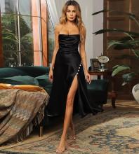 Black Slit Backless Midi Sleeveless Strappy Bodycon Dress HB7267-Black